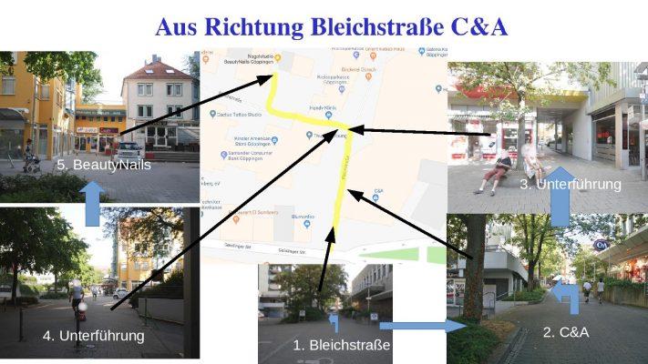 Wegbeschreibung von Bleichstraße C&A zu Nagelstudio BeautyNails in Göppingen