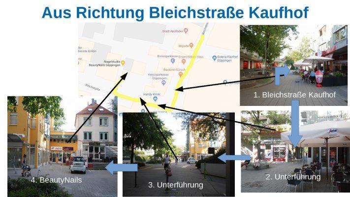 Wegbeschreibung von Bleichstraße Kaufhof zu Nagelstudio BeautyNails in Göppingen