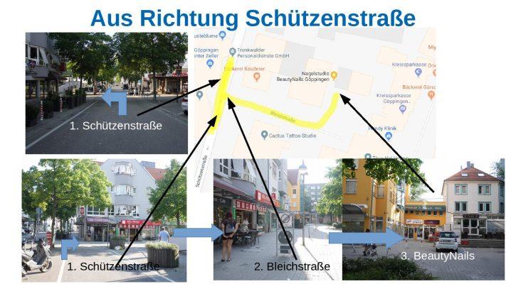 Wegbeschreibung von Schüztenstraße zu Nagelstudio BeautyNails in Göppingen